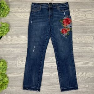 Kut From The Kloth Flower Embroidered Jeans